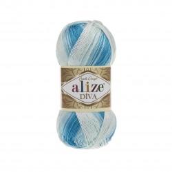 Diva Batik biały-niebieski...